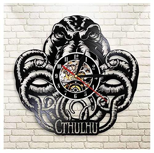 YANGSHUANG Handmade Vinilo Pared Reloj Pulpo Abstracto Reloj de Pared de Vinilo Reloj de Pared de Arte Creativo Hecho a Mano, Movimiento de Cuarzo silencioso, diámetro 30 cm