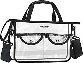 MOSISO Toiletry Bag, TSA Approved Clear Multifunctional Waterproof Zippered Cosmetic Makeup Storage Portable Organizer Sundries Pouch with Dual Handle for Men/Women, Travel and Household, Clear&Black