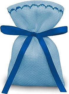 Crociedelizie, Stock 25 sacchetti bomboniere portaconfetti segnaposto in tela aida azzurra celeste da ricamare a punto croce