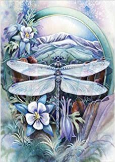 5D Diamond Painting by Number Kit, feilin Dragonfly Full Drill Rhinestone Embroidery Cross Stitch Supply Arts Craft Wall Decor Gift 40x30cm