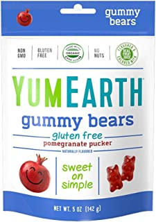 YumEarth Pomegranate Pucker Gummy Bears, 5 Ounce Bag (Pack of 12)