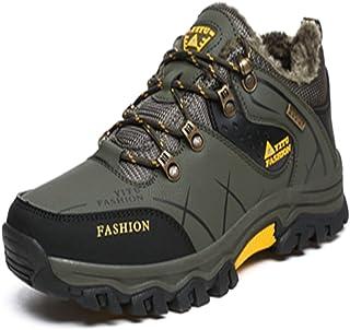 トレッキングシューズ 登山靴 メンズ  ハイキングシューズ 防水 防滑 ウォーキングシューズ アウトドア トラベル ハイカット キャンプ シューズ 暖かい靴 大きいサイズ クッション性/通気性  グリン裏起毛 24.5CM