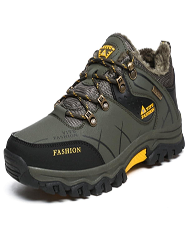 トレッキングシューズ 登山靴 メンズ  ハイキングシューズ 防水 防滑 ウォーキングシューズ アウトドア トラベル ハイカット キャンプ シューズ 暖かい靴 大きいサイズ クッション性/通気性  グリン裏起毛 28.5CM