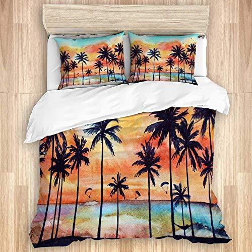 Juego de funda nórdica de 3 piezas, paisaje tropical de acuarela con palmeras y nubes de color naranja al atardecer, juegos de fundas de edredón de microfibra para dormitorio, colcha con cremallera co