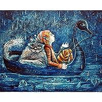 クロス ステッチ キット 猫と少年 11CT スタンプ ニードルポイント プリント パターン キット クロス ステッチ ソーイング 刺繍 家の装飾 40×50cm-フレームなし