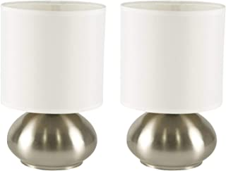 Touch Lamp Set of 2 Brushed Nickel Finish with Fabric Shade (2-Pack)