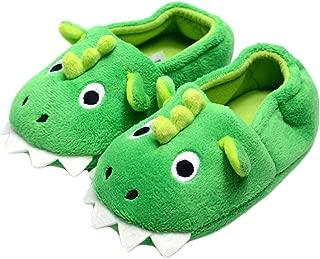 Toddler Baby Boys House Slipper Cute Dinosaur Cartoon Soft Anti-Slip Winter Shoes (Toddler/Little Kid)