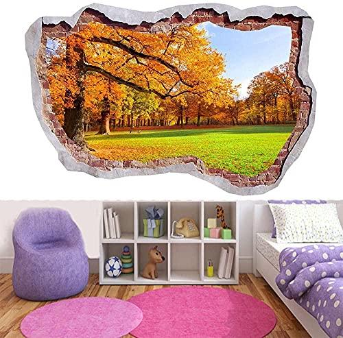 Hojas de árbol de otoño Sol de verano que cae 3D Etiqueta de pared rota Ver arte mural mural cartel papel tapiz 60x90CM