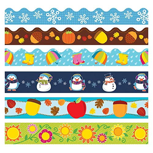 Carson Dellosa Seasonal Bulletin Board Borders—6-Pack of Scalloped and Straight Border Trim, 79 Strips of Colorful Winter, Spring, Fall Decorations (225 ft)