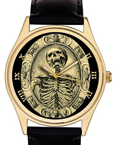 Fantástico reloj de pulsera Tempis Fugit, simbolismo masónico, 40 mm, diseño con calavera.