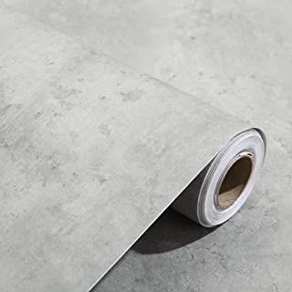 Peel and Stick 3D Stained Gray Cement Look Contact Paper Wallpaper Self Adhesive Slate Gray Concrete Wallpaper for Living ...