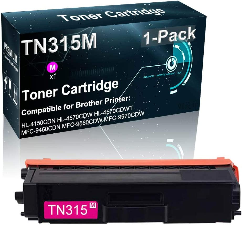 1-Pack (Magenta) Compatible High Yield TN315   TN315M Toner Cartridge Used for Brother HL-4150CDN HL-4570CDWT MFC-9460CDN MFC-9560CDW Printer (Print True-to-Life Photos)