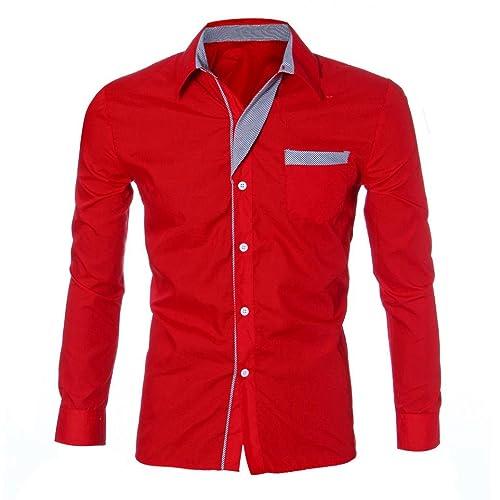 YANG-YI Fashion Mens Boy Luxury Long Sleeve Casual Slim Fit Stylish Shirts
