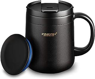 ALNAE マグカップ 保温 カフェマグ コーヒーカップ 真空断熱マグ タンブラー 保温抜群 二重構造 ステンレスマグ 携帯マグ 水筒 保冷 耐熱 蓋付き 直接ドリップ ブラック 340ML