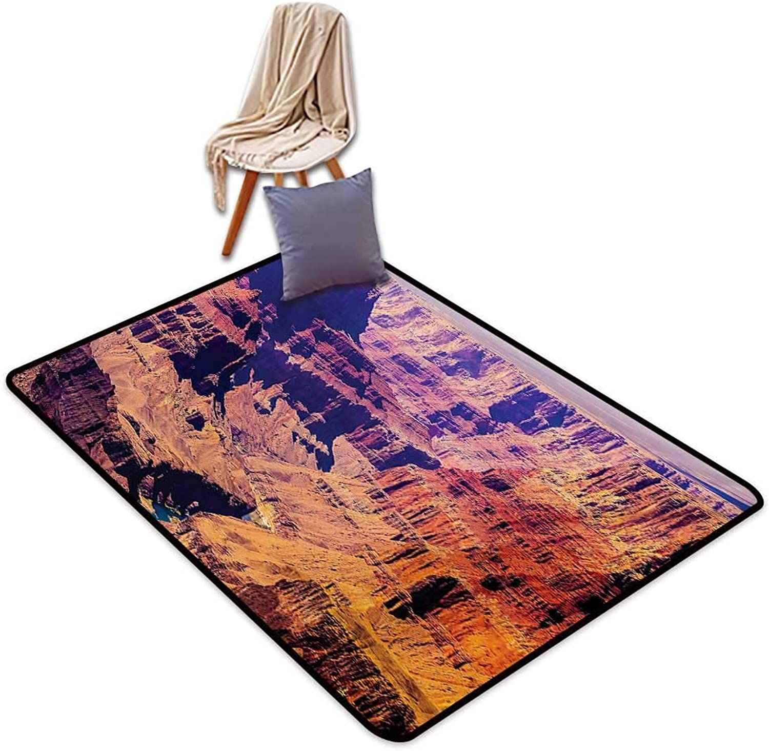 Canyon Large Outdoor Indoor Rubber Doormat Grand Canyon in Arizona with Base Elevations North American Sublime Tribal Landscape Water Absorption, Anti-Skid and Oil Proof 48  Wx59 L Brown
