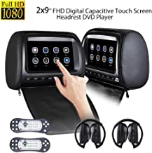Dual Headrest DVD Player 9 inch for Car Backseat Video Monitor Auto Rear Seat Entertainment System Touch Screen 1080P with DVD USB SD 2pcs Free IR Headphone