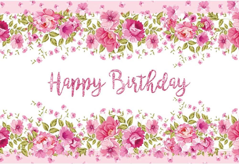 Leowefowa 1.5x1m Atlanta excellence Mall Vinyl Birthday Backdrop Pink Sp Flower