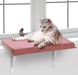 """Bundaloo Cat Window Perch   Easy Set-up DIY Kitty Sill   Mounted Shelf Bed for Pets   House Pets Furniture   Sturdy Couch for All Kitten Sizes   Washable Foam Seat (Modern Brown, Medium 23-3/4 x 12"""")"""
