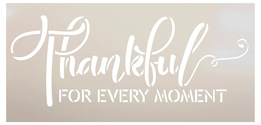 Thankful for Every Moment Stencil by StudioR12 | Simple Script | Wood Signs | Word Art Reusable | Family Dining Room | Painting Chalk Mixed Multi-Media | DIY Home - Choose Size (11