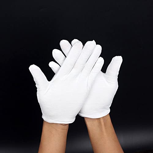 Gants En Coton Blanc; Non Pelucheux Pour Les Fanfares, Les Tenues De Cérémonie Ou L'Eczéma. Gants Souples Pour La Man...