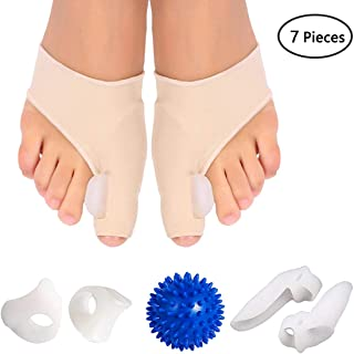 Bunion Corrector and Bunion Care Kit for Tailors Bunion, Hallux Valgus, Big Toe Joint, Hammer Toe, Toe Separators Spacers Straighteners Splint with Foot Massage Ball
