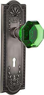 Nostalgic Warehouse 722876 Meadows Plate with Keyhole Single Dummy Waldorf Emerald Door Knob in Antique Pewter