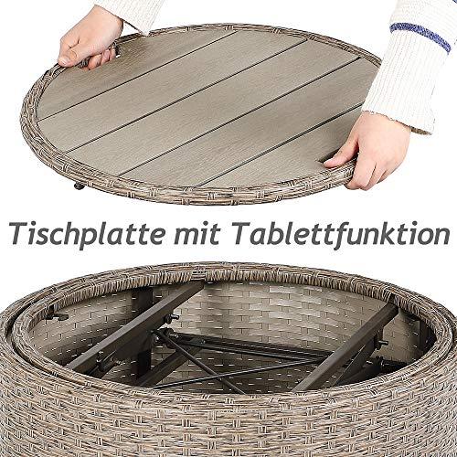 Deuba Bain de Soleil Rond Gris/Beige en polyrotin Ø185cm - Table télescopique - Pare-Soleil