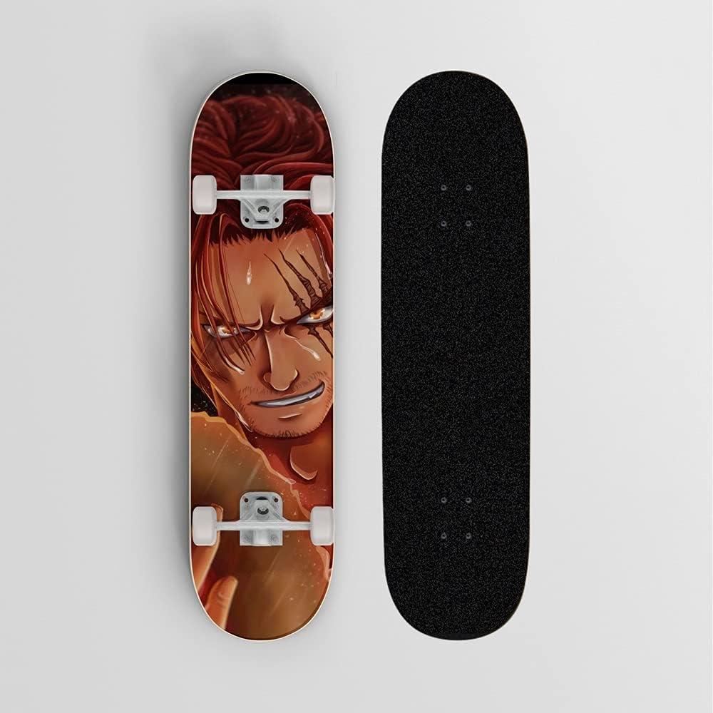 Skateboard de anime for una sola pieza Sombrero de paja, Mini crucero, patineta de cubierta de arce de 7 capas, rodamiento de carga 100 kg, scooter de la calle de la calle for principiantes, regalo de