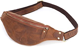 Men Women Genuine Leather Fanny Pack, Cowhide Leather Multifunction Waist Pack, Casual Solid Hip Bum Bag, Sturdy Zippers Ideal for Hiking Running and Cycling