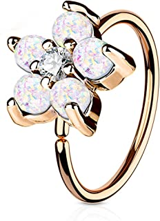 20g 8mm Surgical Steel Opalite Flower and CZ Nose Ring and Cartilage Hoop