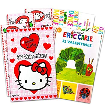 Valentines Day Cards for Girls Kids Classroom Bulk | 64 Valentines Exchange Cards for Teachers Kids | Hello Kitty Eric Carle | 16 Designs | School Preschool Daycare
