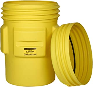 Eagle 1690 Yellow Blow-Molded HDPE Overpack Drum with Screw-On Lid, 95 gallon Capacity, 41.25