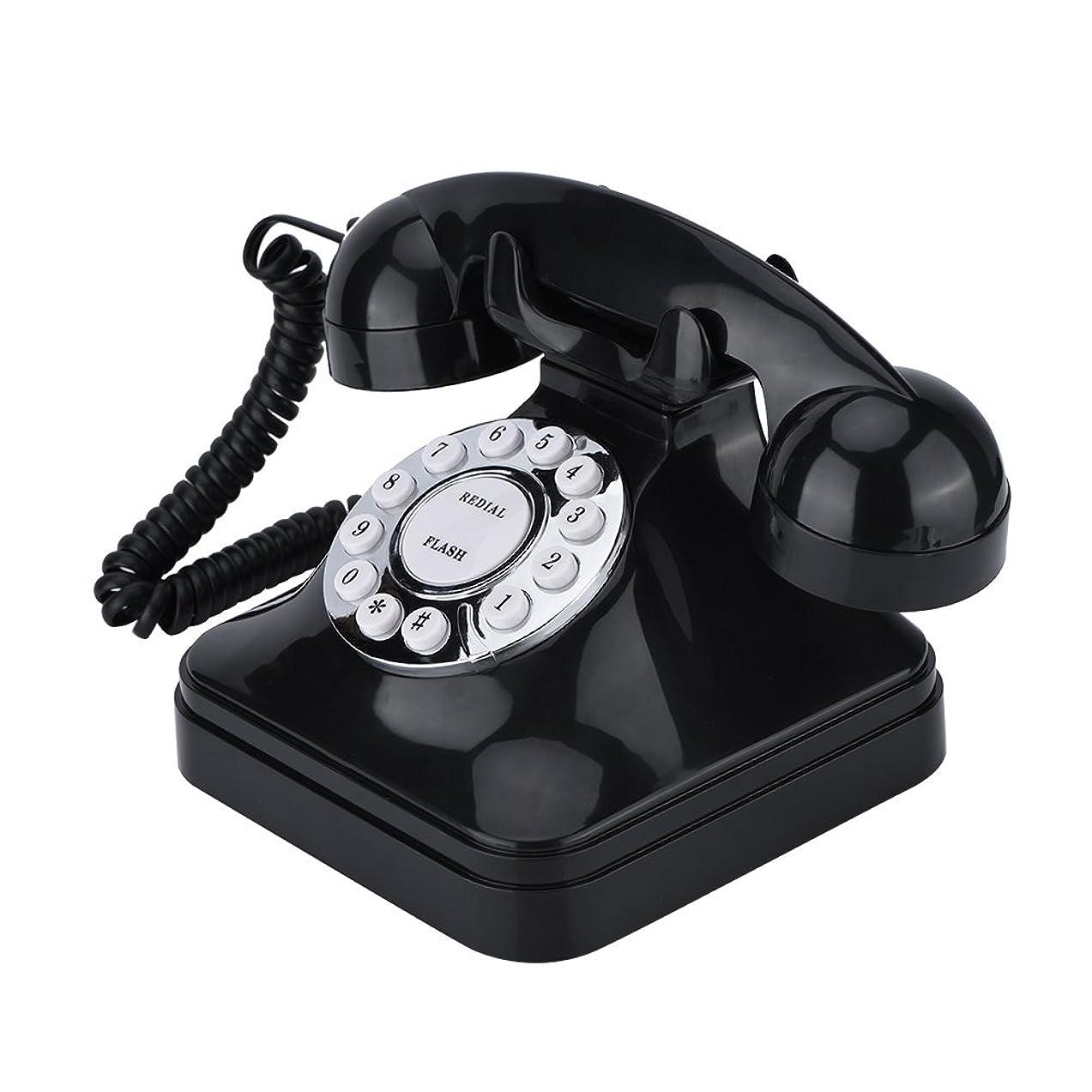 通貨神社折り目Acouto [固定電話] ヴィンテージブラック多機能固定電話 ヴィンテージの外観 デジタルコード電話機 フラッシュ リダイヤル リザーブ 電話機
