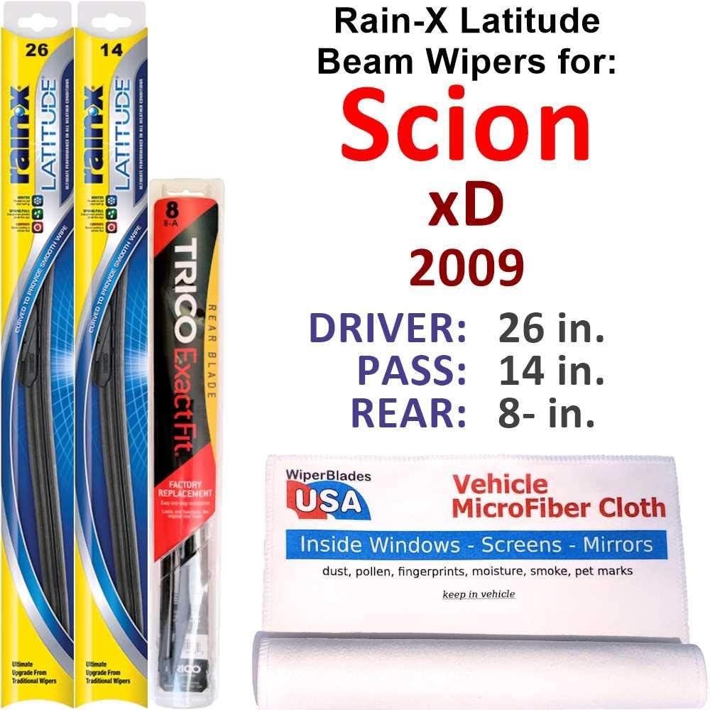 Rain-X Latitude Beam Wipers for 2009 xD Rear Scion Max 45% OFF Regular store w Set