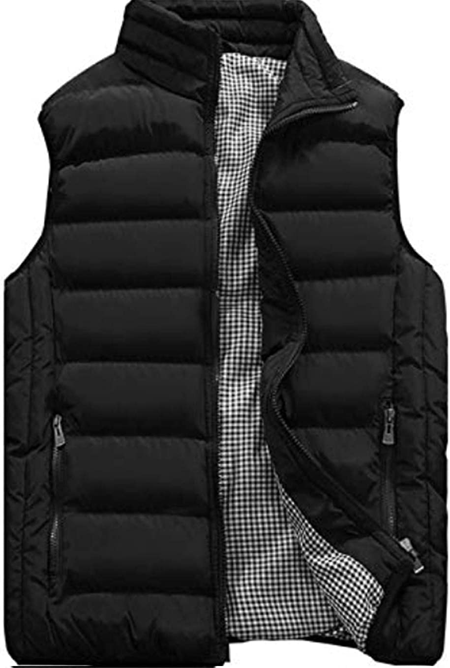 XinYangNi Men's Padded Down Vest Winter Casual Work Sports Travel Outdoor Puffer Pockets