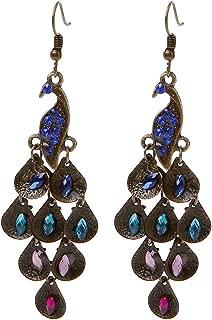 Earrings, Vintage Bohemia Peacock Drop Dangle Earrings Crystal Inlaid Women Wedding Gifts