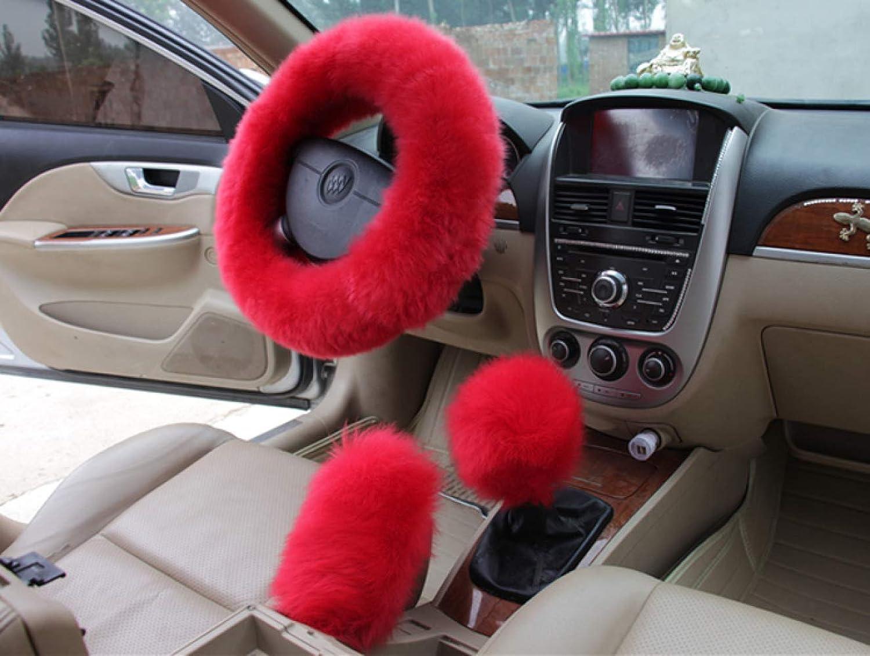 Fashion Steering Steering Wheel Cover Faux Wool Hand Brake Set Warm Winter 1 Set 3 Pcs, Pink,Red