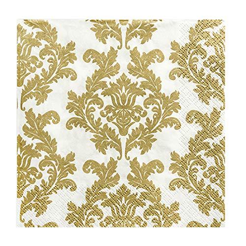 partydeco.pl 20 Servietten, Ornamente/Damask, Gold, weiß | Papier | Chlorfrei Gebleicht | Farben auf Wasserbasis