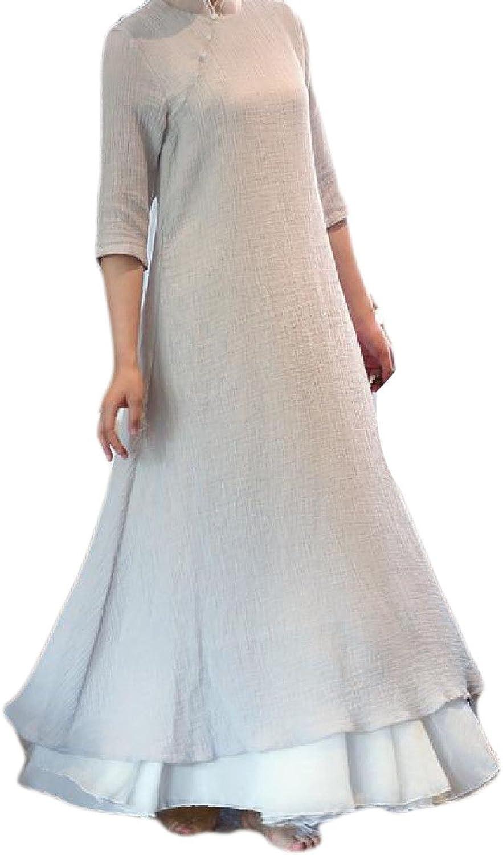 Comfy Women Splicing Pure color Mandarin Collar Mesh Cheongsam Dress