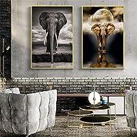 """北欧スタイルの象の壁画をキャンバスに印刷動物の壁のポスターとリビングルームの装飾用に印刷壁の写真19.6""""x27.5""""(50x70cm)x2フレームレス"""