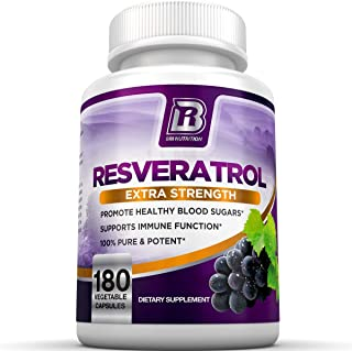 BRI Resveratrol - 1200mg Maximum Strength Natural Antioxidant Supplement for Longevity; Premium, Ultra Pure Veggie Caps Promote Healthy Heart and Brain Function and Immune System Health (180 Capsules)