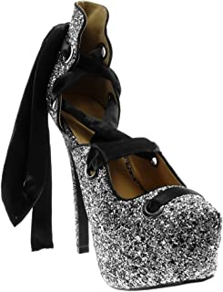 f12b2fa7a07 Angkorly - Zapatillas Moda Tacón escarpín Sandalias Stiletto Decollete  Disco Mujer Codones de Saten Brillante Tacón