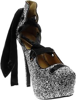 Angkorly - Chaussure Mode Escarpin Sandale Stiletto Decolleté Disco Femme Lacet Ruban Satin Pailettes Talon Haut Aiguille ...