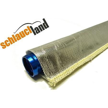 1m Alu Titan Hitzeschutzschlauch Id 25mm Gekettelt Wärmeschutz Kabelschutz Mantel Gewebeschlauch Ölleitung Benzinschlauch Auto