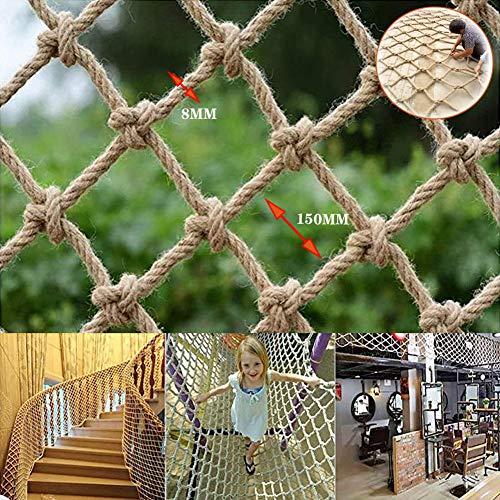 Redes Anticaídas Para Bebés,Redes Aislamiento Para Mascotas, Cerca De Seguridad Para Niños,Red Tejida A Mano,Para Escaleras,Paredes Fotográficas,Cuerda De Cáñamo De 10 Mm De Diámetro,3.3*3.3ft