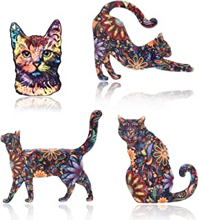 4 Pcs Creative Cat Pattern Brooch Pin Acrylic Flowers Decal Lapel Pin Badge Set for Gift Daily Dress Cloth Decoration