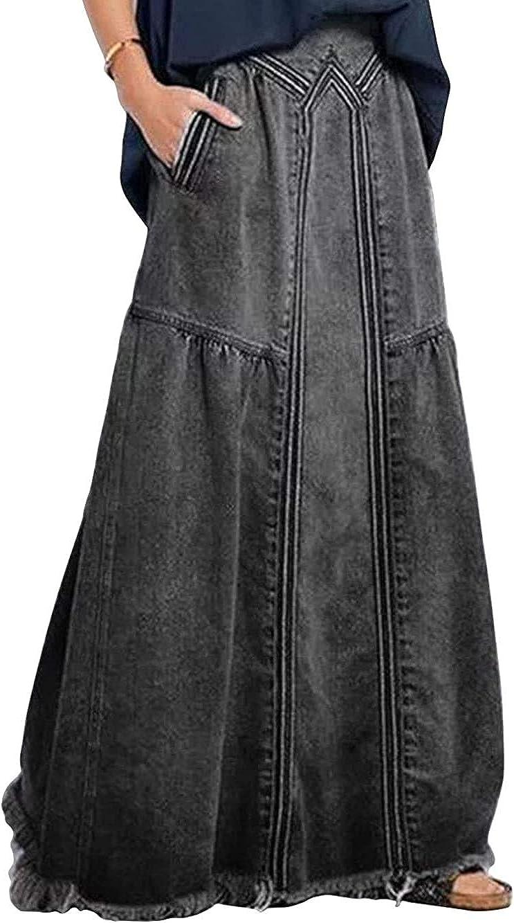 CHARTOU Women's Retro Elastic High Waist Frayed A-Line Maxi Denim Skirt with Pockets