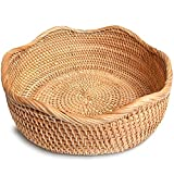 ALOFTT Handmade Round Rattan Basket Lacy Wicher Serving Bowl for Bread, Snack, Fruit, Vegetable (M-10.2'')