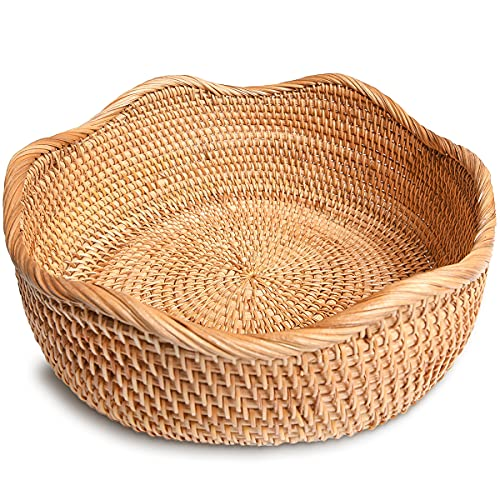 ALOFTT Handmade Round Rattan Basket Lacy Wicher Serving Bowl for Bread, Snack, Fruit, Vegetable (M-10.2'')