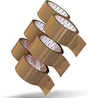 Pakkettape bruin stil afrollend 50 mm x 66 m (6 rollen) - Bruin pakketplakband extra sterk voor alle dozen en pakketten - ...